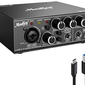 Moukey USB 3.0 Audio Interface, Microphone Preamps, with 48V Phantom Power, 24 Bit, Support Smartphone, Tablet, Computer and Other Equipment Recording – MSc1