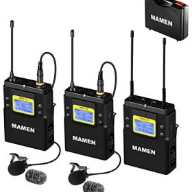 UHF Wireless Microphone System, Dual Lavalier Microphones with 1 Receiver, 2 Transmitters, 330′ ft Audio Range, Wireless Lapel Mic for iPhone, DSLR Camera, Vlogging, Video Recording