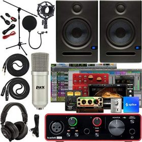 """Focusrite Scarlett Solo 2×2 USB Audio Interface Full Studio Bundle with Creative Music Production Software Kit and Eris E5 Pair 2-Way Studio Monitors and 1/4"""" Instrument Cables"""