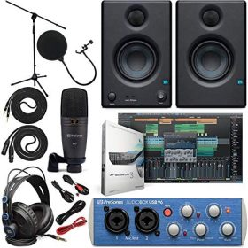 """Presonus AudioBox 96 Audio Interface (May Vary Blue or Black) Full Studio Bundle with Studio One Artist Software Pack w/Eris 3.5 Pair Studio Monitors and 1/4"""" TRS to TRS Instrument Cable"""