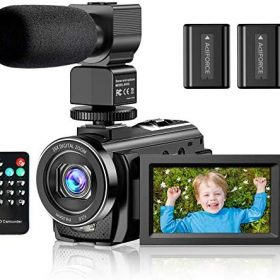 Video Camera Camcorder YouTube Vlogging Camera FHD 1080P 30FPS 24MP 16X Digital Zoom 3″ LCD 270 Degrees Rotatable Screen Digital Camera Recorder with Microphone,Remote Control,2 Batteries