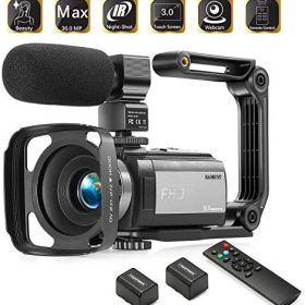 Camcorder Video Vlogging HD Camera HAOHUNT 36MP 1080P Digital Recorder, 16X Digital Zoom 3 Inch Touch Screen Camcorder with Rechargeable External Microphone, Remote Control, Stabilizer, 2 Batteries