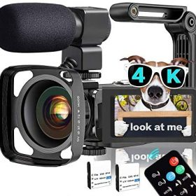 """Video Camera, TLPUHU 4K Camcorder WiFi Ultra HD 48MP YouTube Camera for Vlogging, 3.1"""" IPS Screen 16X Digital Zoom Video Camera with Microphone, 2 Batteries, Handheld Stabilizer(SD Card not Included)"""