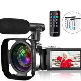Video Camera Camcorder Vlogging Camera for Youtube Full HD 2.7K 30FPS 30 MP IR Night Vision 3 Inch Touch Screen Time-Lapse Camcorder with Microphone Remote Control Lens Hood and 2 Batteries