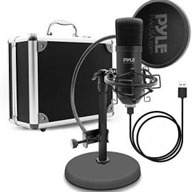 USB Microphone Podcast Recording Kit – Audio Cardioid Condenser Mic w/ Desktop Stand and Pop Filter – For Gaming PS4, Streaming, Podcasting, Studio, Youtube, Works w/ Windows Mac PC – Pyle PDMIKT100