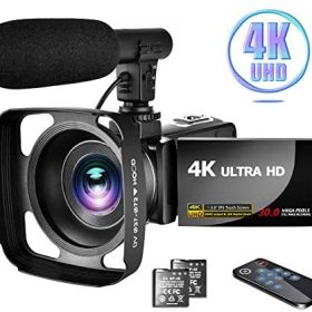 Camcorder 4K Video Camera with Microphone Vlogging Camera YouTube Camera Recorder Ultra HD 30MP 3.0″ IPS Touch Screen with Lens Hood & 2 Batteries