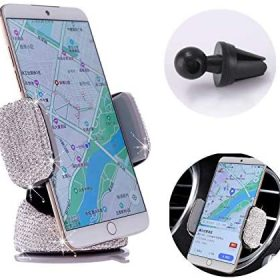 Bling Crystal Car Phone Mount with One More Air Vent Base, Universal Cell Phone Holder for Dashboard,Windshield and Air Vent. (Sliver)
