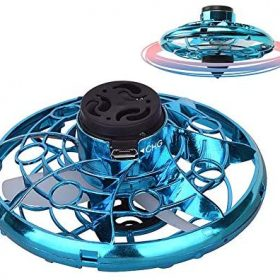 NEXTAKE Hand Operated UFO Flying Drone for Kids and Adults, Interactive Toy Flying Gyro Mini Flying Boomerang with 360° Rotating and LED Lights (Blue)