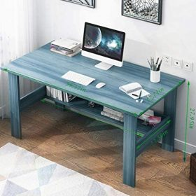【US Ship】 Computer Desk 39″ Study Writing Table for Home Office, Modern Simple Style Computer Desk,Office Desk (Black) (Blue)