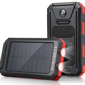 Solar Cell Phone Charger 10000mAh, POWOBEST Waterproof Solar Power Bank with Dual USB, External Backup Battery Pack for Smartphones, Portable Solar Panels with Flashlight & Compass