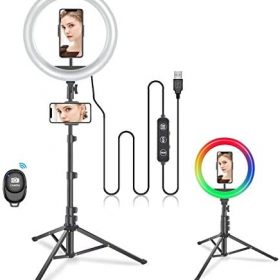 """(2020 Upgraded) 10"""" RGB Selfie Led Ring Light with Tripod Stand and Phone Holder,for iPhone Android Laptop Computer Cell Phone,for Video Recording Desk Live Stream Makeup"""
