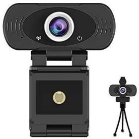 1080p Full HD USB Webcam with Built-in Microphone with Privacy Cover and Tripod,30fps Plug and Play Widescreen Live Streaming Web Computer Camera for PC Video Conferencing/Calling/Gaming