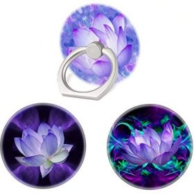 (3 Pack) Mobile Phone Ring Holder Finger Grip,Purple Lotus Flower Cell Phone Stand Collapsible Kickstand Compatible with All Smartphone