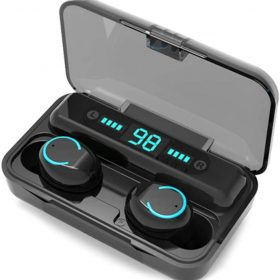[2020] New Wireless Earbuds Bluetooth 5.0 Headsets, IPX7 Waterproof 100H Playtime with Charging Case LED Battery Display, 3D Stereo Audio Full Touch Control Headset w/Mic 1