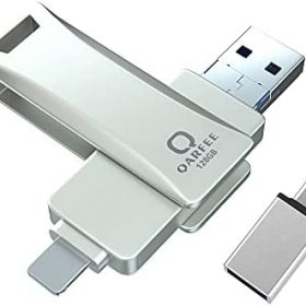 【iOS File APP】 Photo Stick Qarfee 128GB Thumb Drive USB 3.0 Memory Stick Photosticks for Pictures, Universal OTG USB Flash Drive Compatible with Phone/iMac/iPad/Android/Computer (Silver)