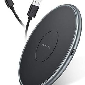 [Upgraded] ESR Wireless Charger, Metal Frame Ultra-Thin Fast Charging Pad, 7.5W for iPhone 12/Mini/Pro/Pro Max/11/SE, 10W Fast Charging for Galaxy S20/S20 Ultra/Note10, Pixel 3/4, Black