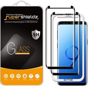(2 Pack) Supershieldz Designed for Samsung Galaxy S9 Tempered Glass Screen Protector with (Easy Installation Tray) Anti Scratch, Bubble Free (Black)
