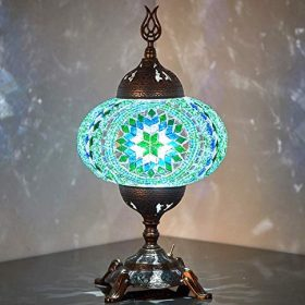 (15 Colors) Battery Operated Mosaic Table Lamp with Built-in LED Bulb, Turkish Moroccan Handmade Mosaic Table Desk Bedside Mood Accent Night Lamp Light Lampshade with LED Bulb,No Cord (Teal)